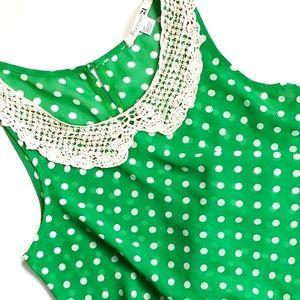 Retro Style Polka Dot Crochet Neck Sleeveless Top